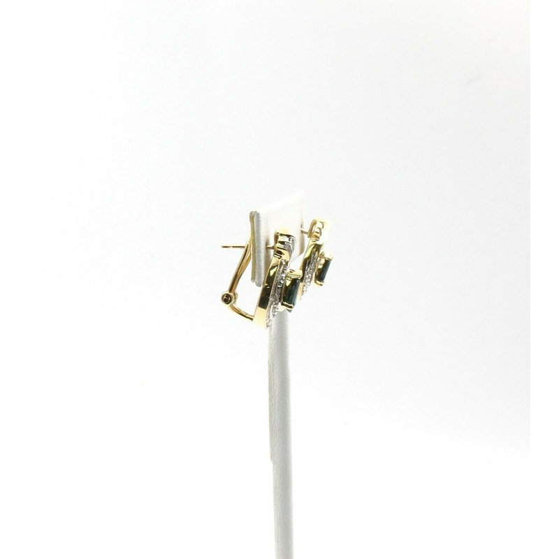 National Rarities 14K YELLOW GOLD 2.0 CTW PEAR SAPPHIRE ROUND DIAMOND OMEGA BACK EARRINGS #JB31-8