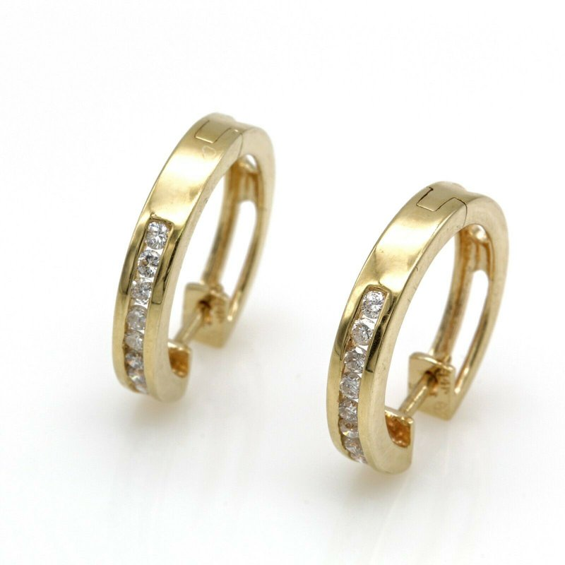 National Rarities 14K YELLOW GOLD .25 CTW ROUND DIAMOND PETITE HINGED HOOP EARRINGS #JB77-4