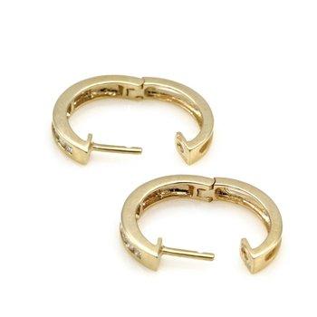 14K YELLOW GOLD .25 CTW ROUND DIAMOND PETITE HINGED HOOP EARRINGS #JB77-4