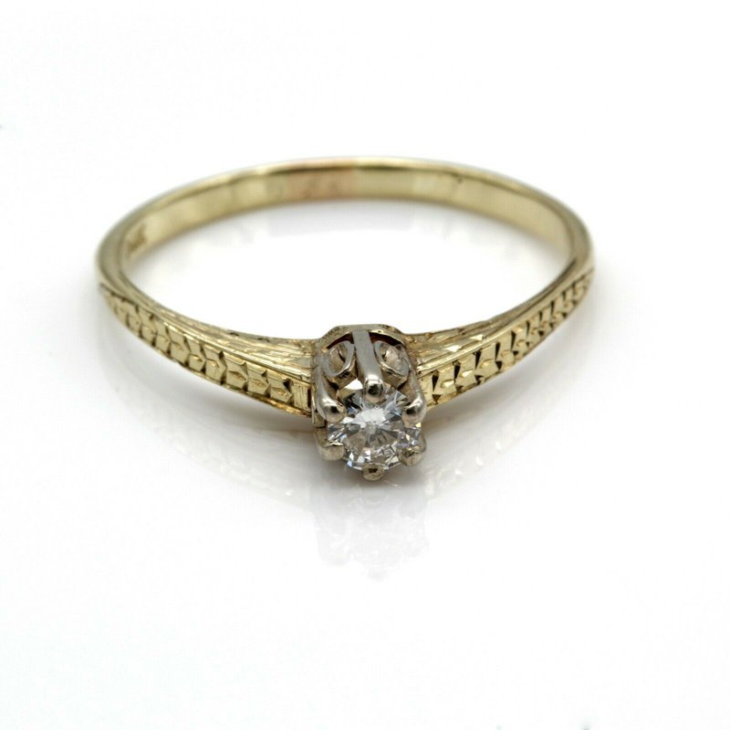 National Rarities 14K GOLD VINTAGE DIAMOND RING ENGRAVED CATHEDRAL MOUNT 6 PRONG HEAD 1033B-5