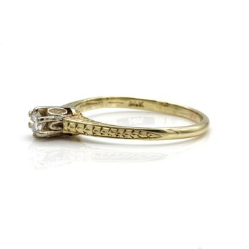 14K GOLD VINTAGE DIAMOND RING ENGRAVED CATHEDRAL MOUNT 6 PRONG HEAD 1033B-5