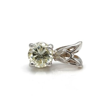 14K WHITE GOLD AND 0.33 CT BRILLIANT ROUND DIAMOND SOLITAIRE PENDANT #JB75-9