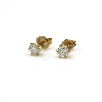 14K YELLOW GOLD .64 CTW ROUND DIAMOND STUD EARRINGS CLASSIC ELEGANCE #843B-3