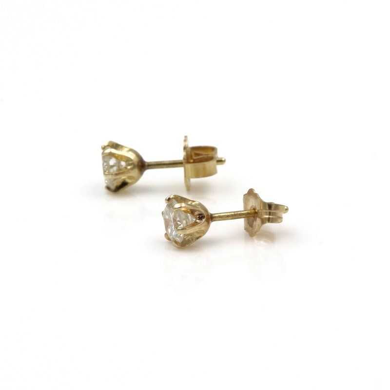 National Rarities 14K YELLOW GOLD .64 CTW ROUND DIAMOND STUD EARRINGS CLASSIC ELEGANCE #843B-3