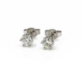 14K WHITE GOLD SIX PRONG ROUND BRILLIANT CUT DIAMOND STUD EARRINGS .46CT #JB41-4