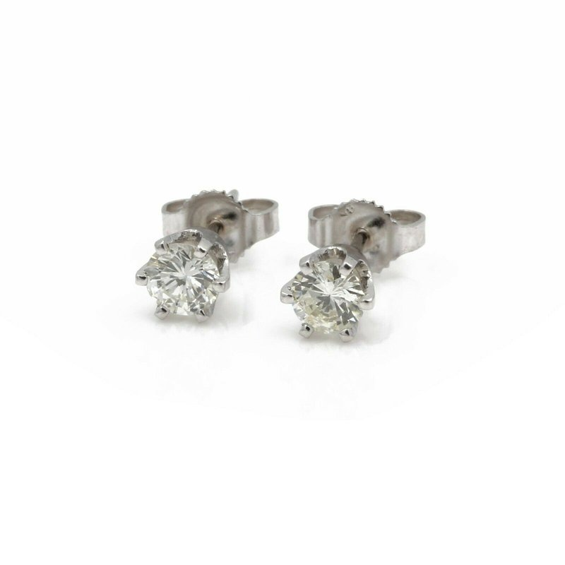 National Rarities 14K WHITE GOLD SIX PRONG ROUND BRILLIANT CUT DIAMOND STUD EARRINGS .46CT #JB41-4