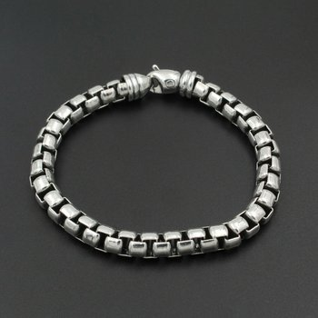 DAVID YURMAN 7MM BOX CHAIN STERLING SILVER BRACELET SIZE 7 3/4 # 981B-7