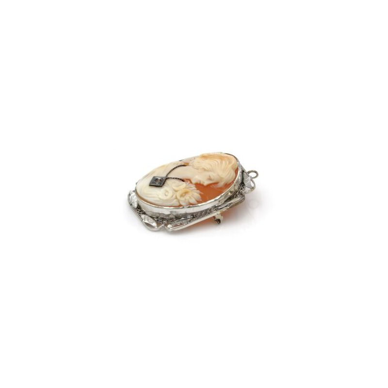 Cameo 14K  WHITE GOLD ANTIQUE SHELL CAMEO HABILEE SC DIAMOND PIN PENDANT #1032B-2