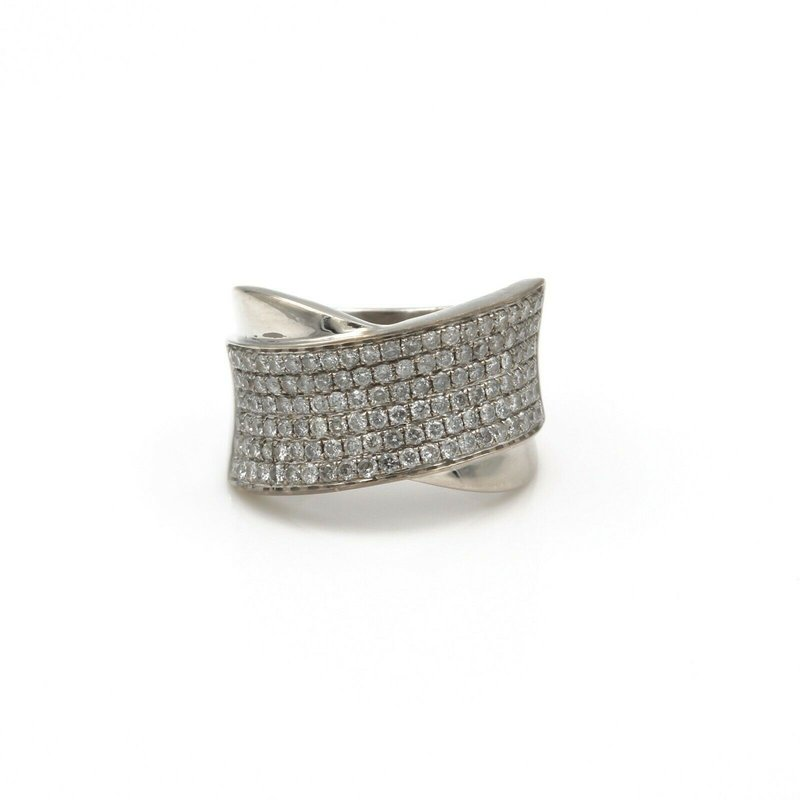 National Rarities CONTEMPORARY 18K WHITE GOLD AND 1.04 CTW PAVE SET ROUND DIAMONDS #808B-3