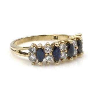 SPARK DESIGNER 14K YG 1.20 CTW MARQUISE BLUE SAPPHIRE ROUND DIAMOND RING #E154
