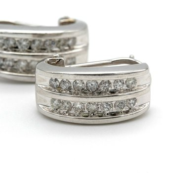 14K WHITE GOLD .84CTW DIAMOND DOUBLE CHANNEL J HOOP OMEGA BACK EARRINGS #1010B-2