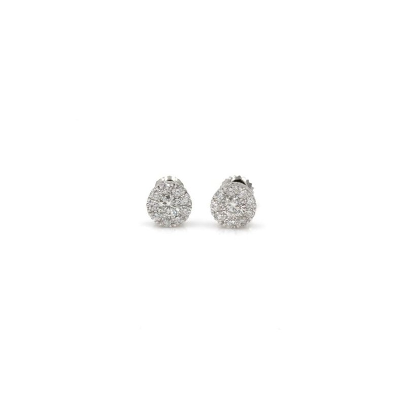 Halo 14K WHITE GOLD DIAMOND CLUSTER STUD EARRINGS SOLITARE HALO RBC .50CTW #1035B-5