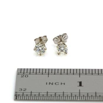 14K WHITE GOLD ROUND BRILLIANT CUT DIAMOND STUD EARRINGS 0.75 CTW BRIGHT JB36-4