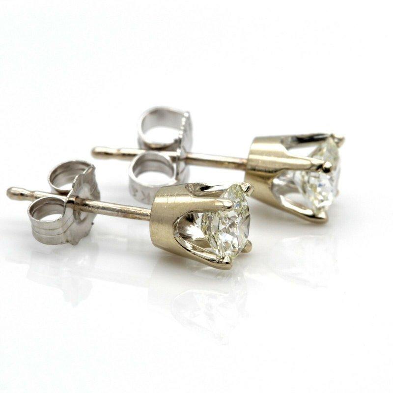 Unbranded 14K WHITE GOLD ROUND BRILLIANT CUT DIAMOND STUD EARRINGS 0.75 CTW BRIGHT JB36-4