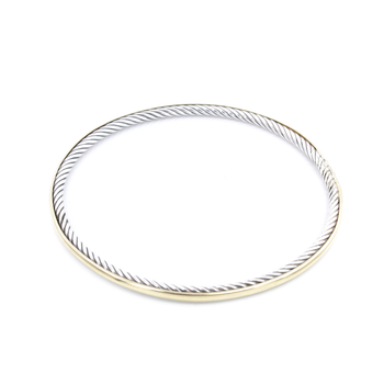 DAVID YURMAN18K GOLD AND STERLING SILVER CLASSIC CABLE BANGLE BRACELET #D23-10