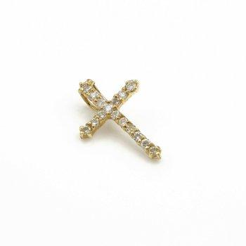 14K SOLID GOLD 0.32 CTW ROUND BRILLIANT CUT DIAMOND CROSS PENDANT #1051B-2