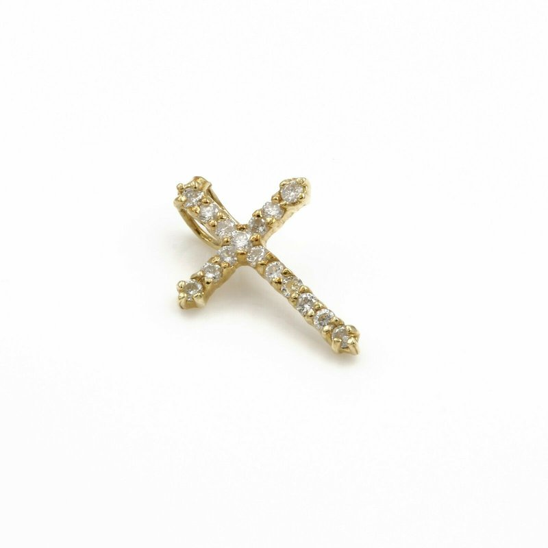 Unbranded 14K SOLID GOLD 0.32 CTW ROUND BRILLIANT CUT DIAMOND CROSS PENDANT #1051B-2