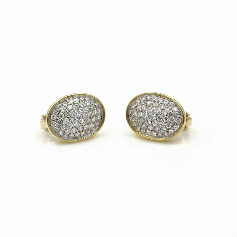National Rarities 18K GOLD 1.50 CTW DIAMOND PAVE' OVAL SHAPED EARRINGS WITH OMEGA BACKS E-168