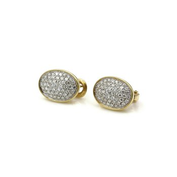 18K GOLD 1.50 CTW DIAMOND PAVE' OVAL SHAPED EARRINGS WITH OMEGA BACKS E-168
