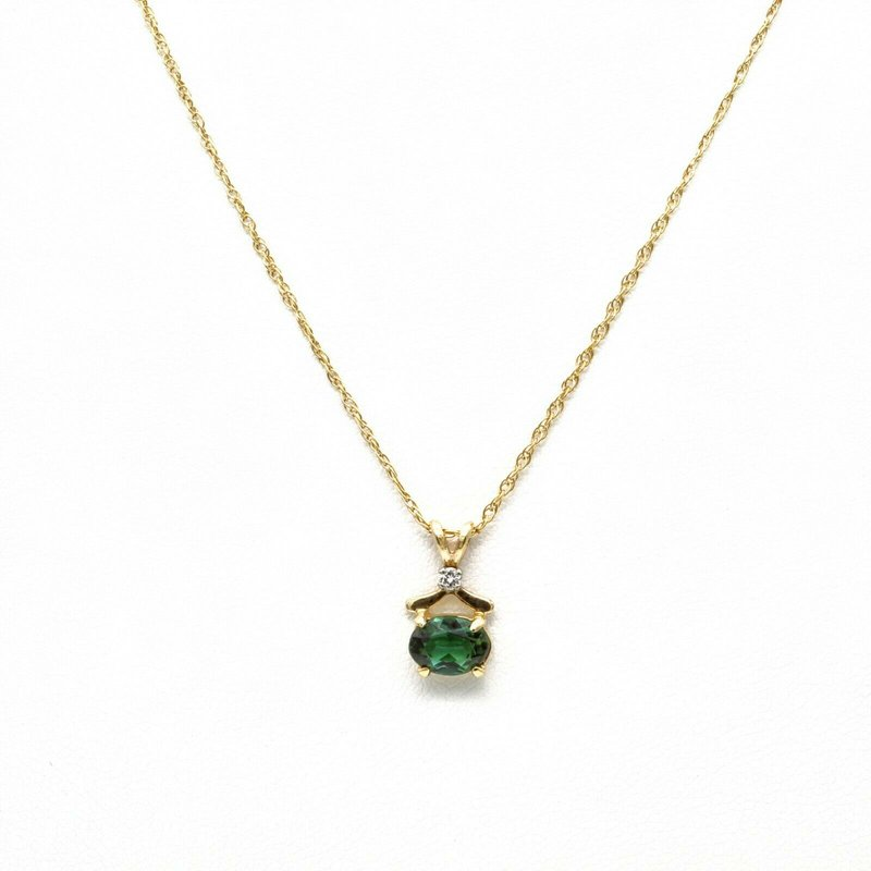 Unbranded 14K YELLOW GOLD OVAL GREEN TOURMALINE AND DIAMOND PENDANT NECKLACE #1088B-2