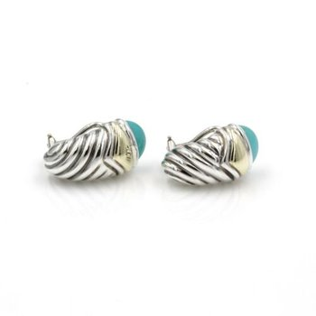 DAVID YURMAN STERLING & 14K GOLD TURQUOISE SHRIMP HUGGIE EARRINGS #1029B-6