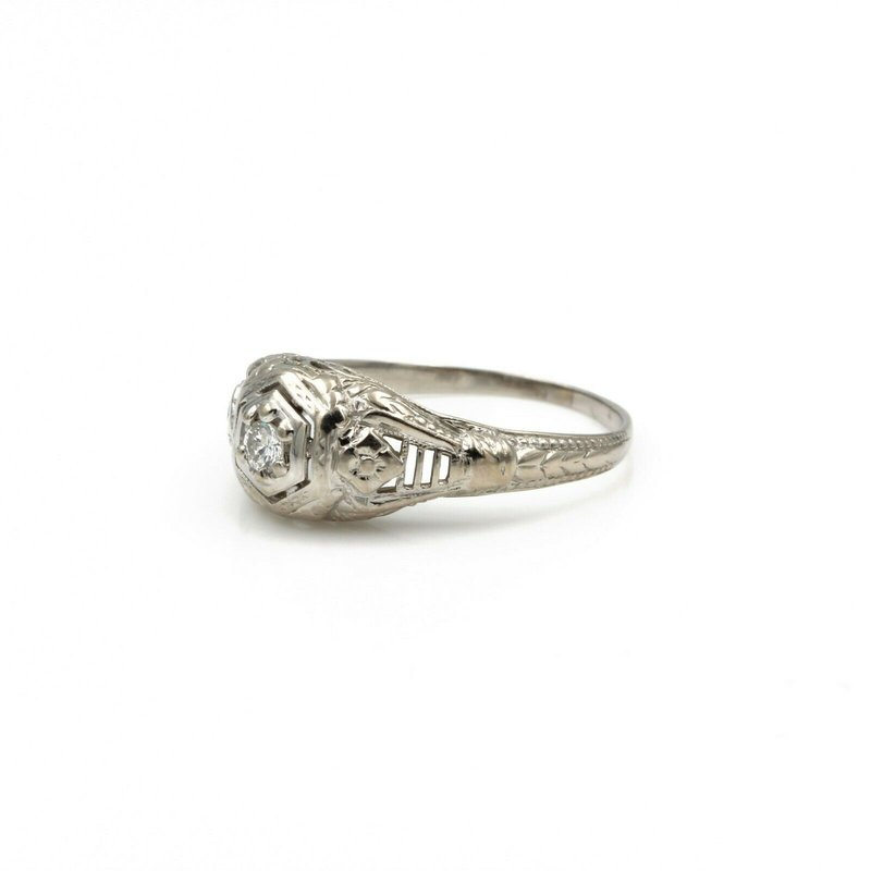 National Rarities ART DECO FILIGREE 18K WHITE GOLD .10 CT EARLY BRILLIANT DIAMOND RING #E0319-58