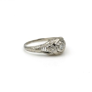 ART DECO FILIGREE 18K WHITE GOLD .10 CT EARLY BRILLIANT DIAMOND RING #E0319-58
