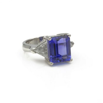 PLATINUM EMERALD CUT TANZANITE TRIANGLE CUT DIAMOND RING 8.7CTW SIZE 6.5 #E-174