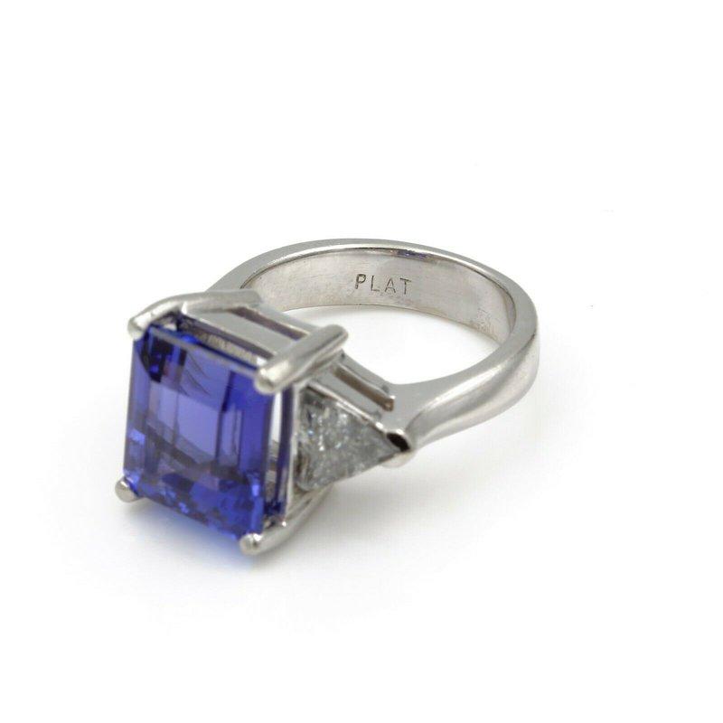 Unbranded PLATINUM EMERALD CUT TANZANITE TRIANGLE CUT DIAMOND RING 8.7CTW SIZE 6.5 #E-174