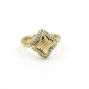 DAVID YURMAN 18K YELLOW GOLD .35 CTW DIAMOND QUATREFOIL RING #D11-2