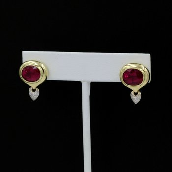 18K YELLOW GOLD RETRO RIZZO RUBELITE TOURMALINE DIAMONDS STUD EARRINGS 1028B-1