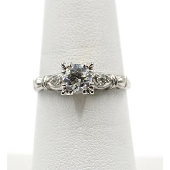 ORNATE 14K WHITE GOLD DIAMOND .78 CTTW H I1 RING SIZE 7 #E-41