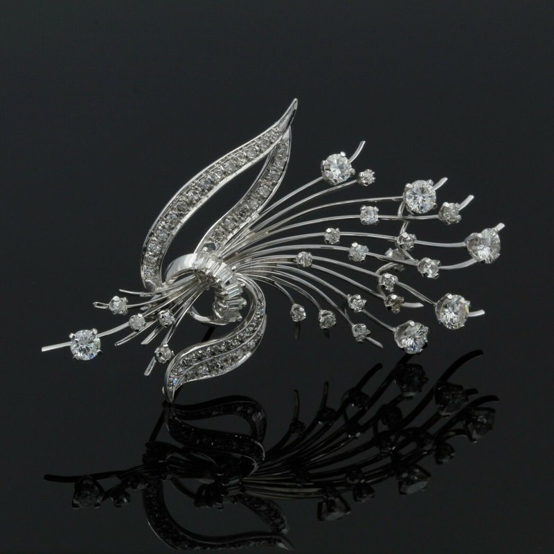 National Rarities BEAUTIFUL VINTAGE 18K WHITE GOLD 3.02 CTW DIAMOND FLORAL BOUQUET BROOCH #E-167