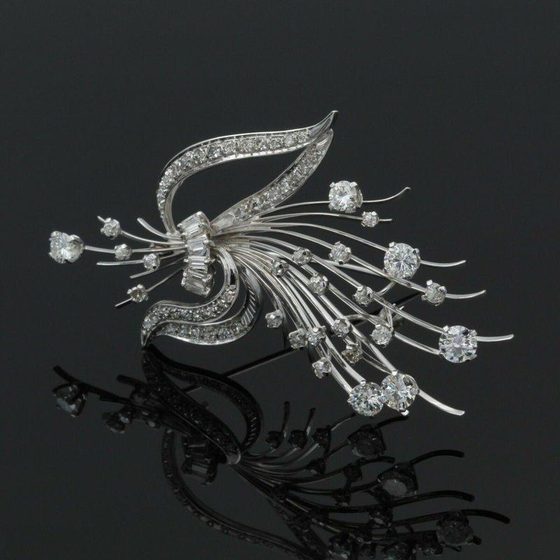 National Rarities BEAUTIFUL VINTAGE 18K WHITE GOLD 3.02 CTW DIAMOND FLORAL BOUQUET BROOCH #E-167
