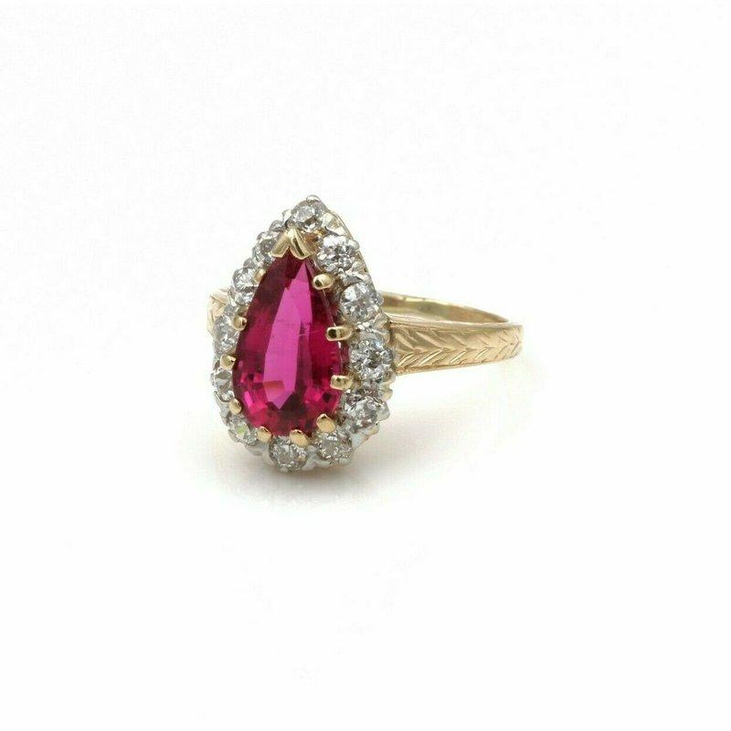 National Rarities 14K ROSE GOLD 2.80 CTW RUBELITE TOURMALINE & DIAMOND HALO RING SIZE 5.25 #E-227