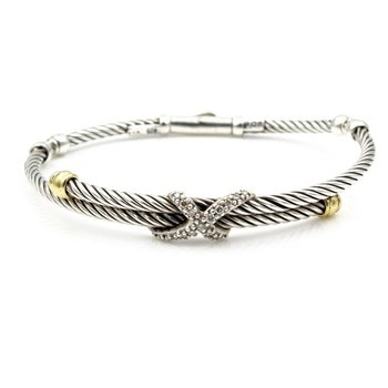 DAVID YURMAN 18K GOLD STERLING SILVER DIAMOND X COLLECTION CABLE BRACELET 974B-3