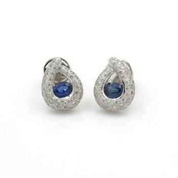 14K WHITE GOLD TEARDROP OVAL BLUE SAPPHIRE DIAMOND PAVE STUD EARRINGS #JB74-3