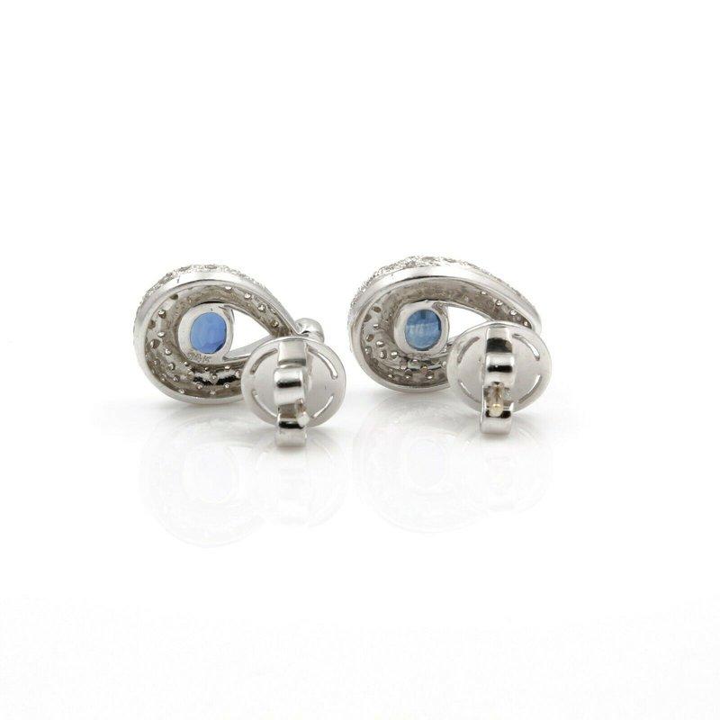 National Rarities 14K WHITE GOLD TEARDROP OVAL BLUE SAPPHIRE DIAMOND PAVE STUD EARRINGS #JB74-3