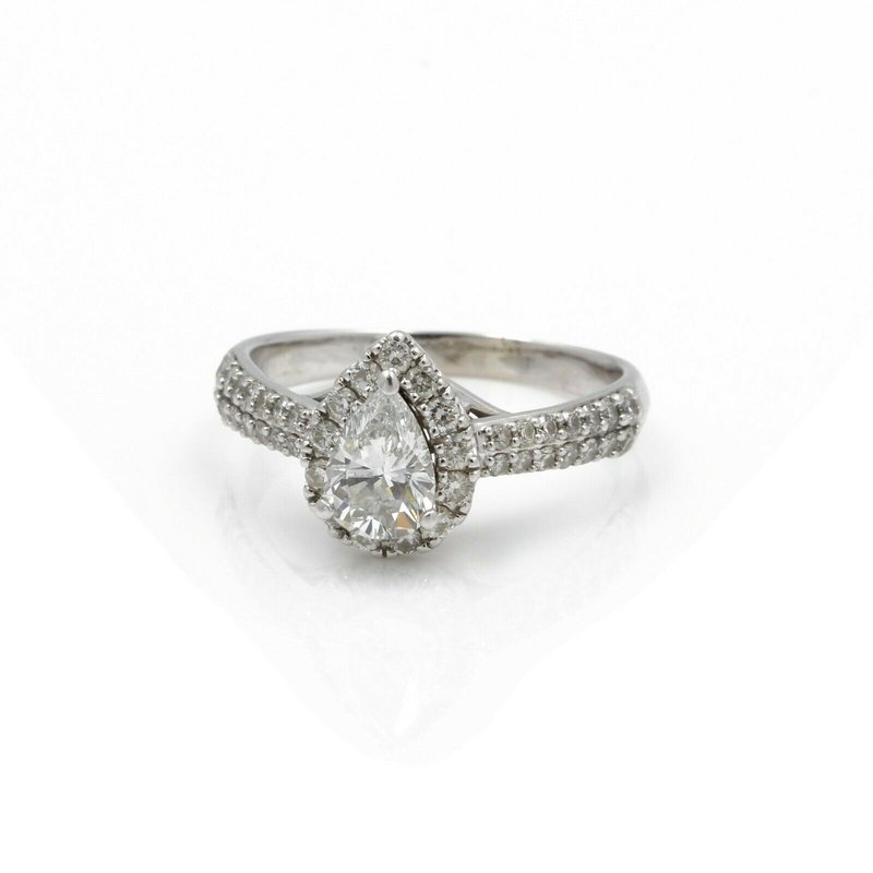 National Rarities 14K WHITE GOLD AND 1.5 CTW PEAR & ROUND DIAMOND ENGAGEMENT RING SZ 7.75 #J2746-2
