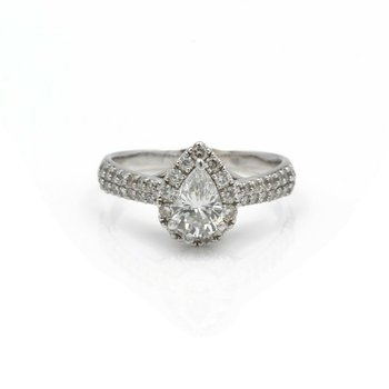 14K WHITE GOLD AND 1.5 CTW PEAR & ROUND DIAMOND ENGAGEMENT RING SZ 7.75 #J2746-2