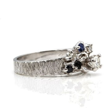 14K LOVELY DIAMOND RING SAPPHIRE & DIAMOND ACCENTS  WG BARK FINISH BAND #1025B-3
