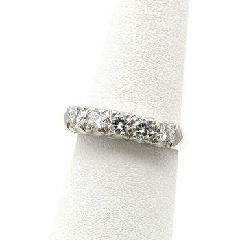 EXQUISITE PLATINUM .90 CTW ROUND FIVE DIAMOND WEDDING BAND RING SIZE 6.5 J1082-3