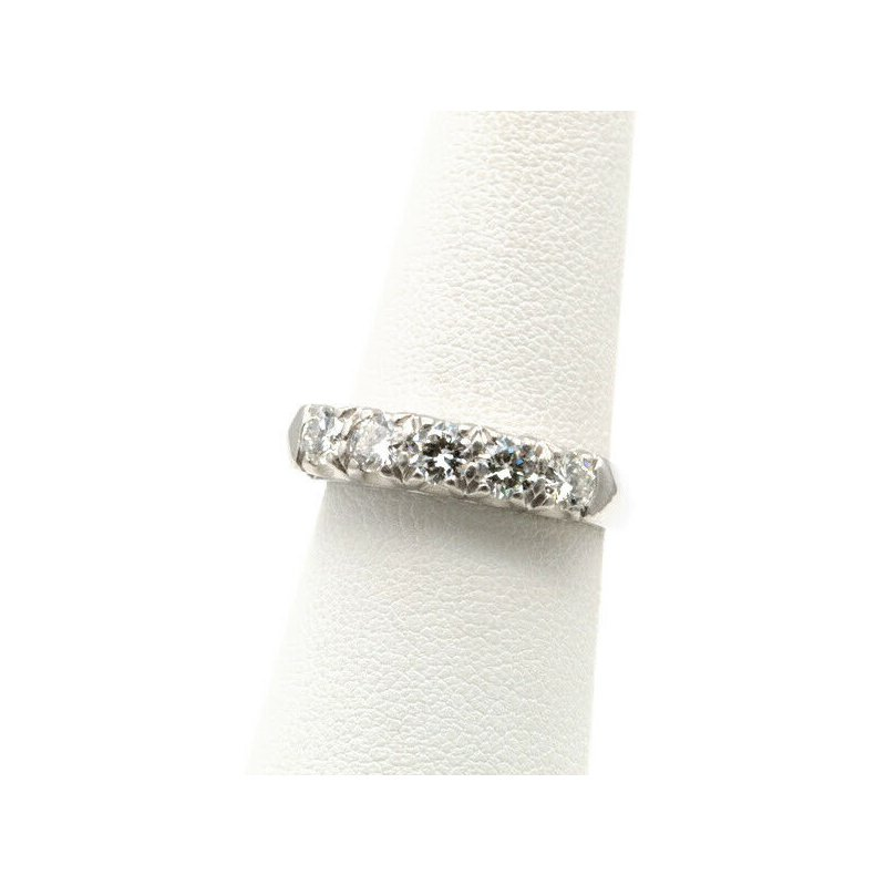 National Rarities EXQUISITE PLATINUM .90 CTW ROUND FIVE DIAMOND WEDDING BAND RING SIZE 6.5 J1082-3