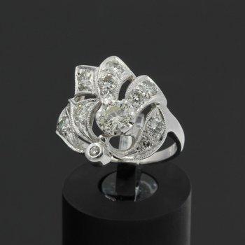 ANTIQUE 14K WHITE GOLD FLORAL DESIGN ROUND DIAMOND RING SIZE 5.75 1.25CTW #E306