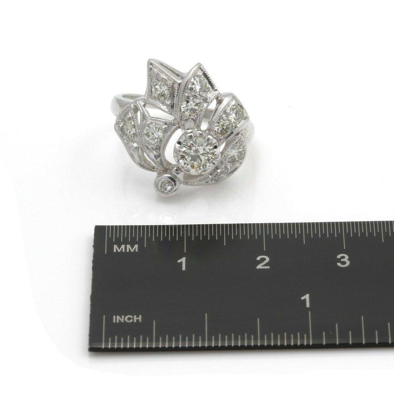 Antique ANTIQUE 14K WHITE GOLD FLORAL DESIGN ROUND DIAMOND RING SIZE 5.75 1.25CTW #E306