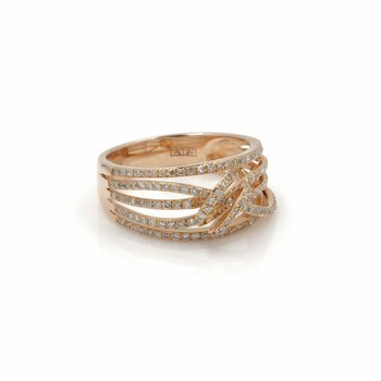 EFFY 14K ROSE GOLD TWISTED STYLE ROUND DIAMOND RING 0.72CTW SIZE 7 #D3041-1