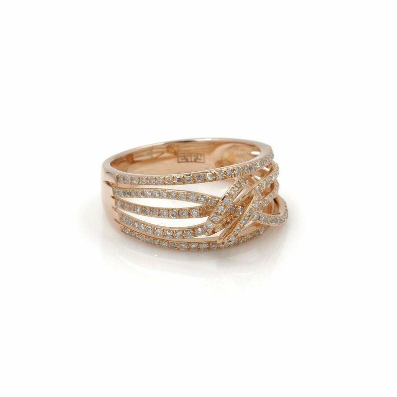 Effy EFFY 14K ROSE GOLD TWISTED STYLE ROUND DIAMOND RING 0.72CTW SIZE 7 #D3041-1