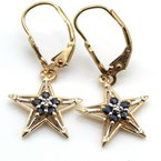 National Rarities VINTAGE 10K GOLD SAPPHIRE AND DIAMOND STAR EARRING AND PENDANT SUITE #1021B-6