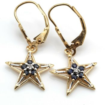VINTAGE 10K GOLD SAPPHIRE AND DIAMOND STAR EARRING AND PENDANT SUITE #1021B-6