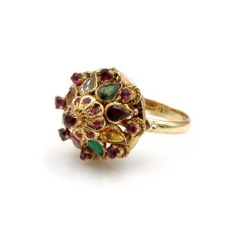14K YELLOW GOLD 2.41 CTW RUBY MULTI GEMSTONE THAI PRINCESS HAREM RING #826B-7